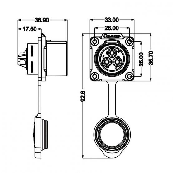 CNLINKO Power Einbaubuchse LP-24 Power 3pin female socket 500 V 25 A
